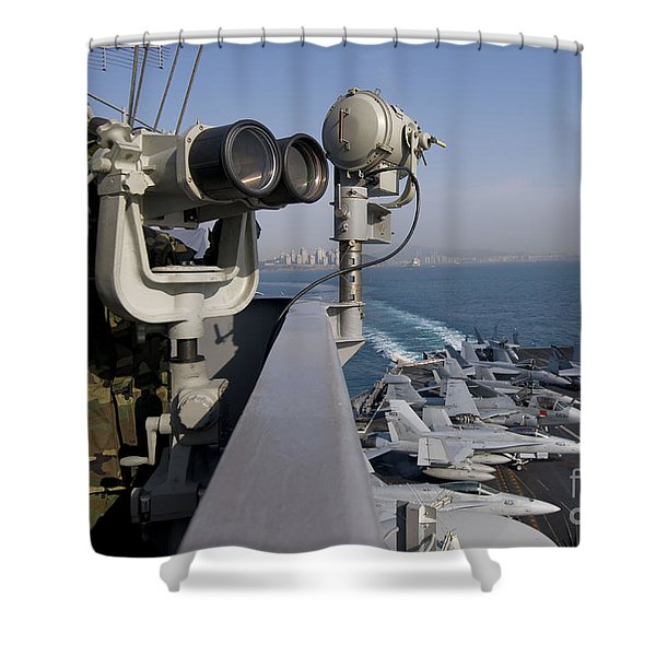 Operations Specialist Seaman Stands Shower Curtain