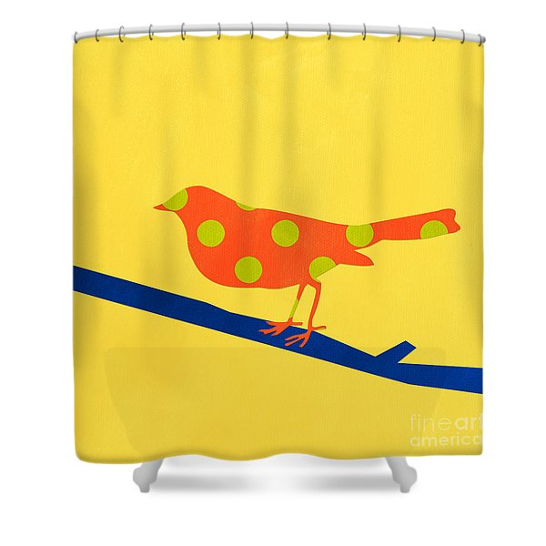 Orange Bird Shower Curtain