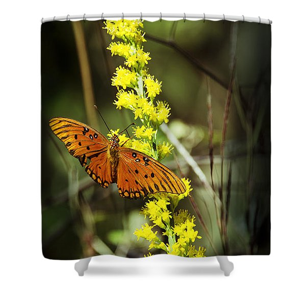 Orange Butterfly On Yellow Wildflower Shower Curtain