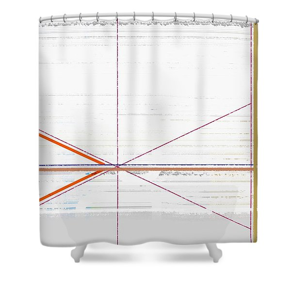 Orange Triangles With Grey Shower Curtain