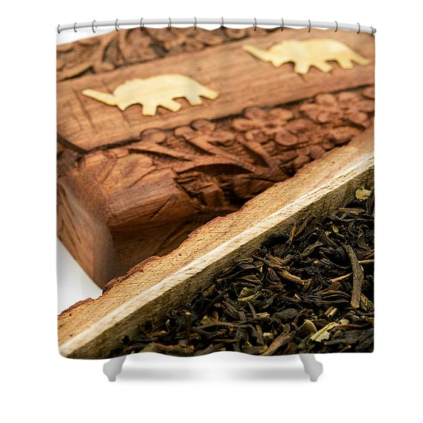Ornate Box With Darjeeling Tea Shower Curtain
