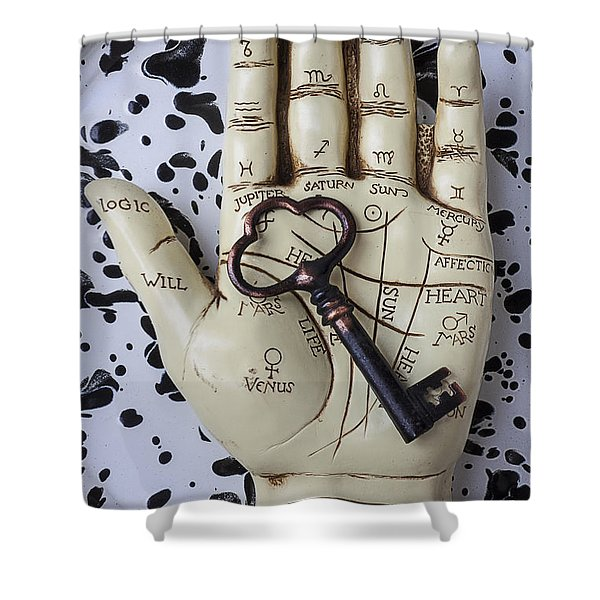 Palm Reading Hand And Key Shower Curtain