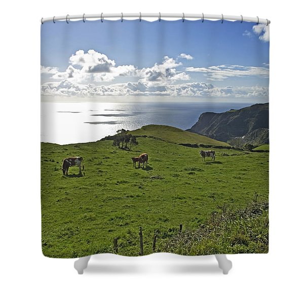 Pastoral Landscape Of Santa Maria Island Shower Curtain