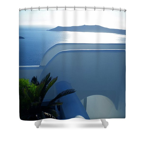 Peaceful Sunset Santorini Shower Curtain