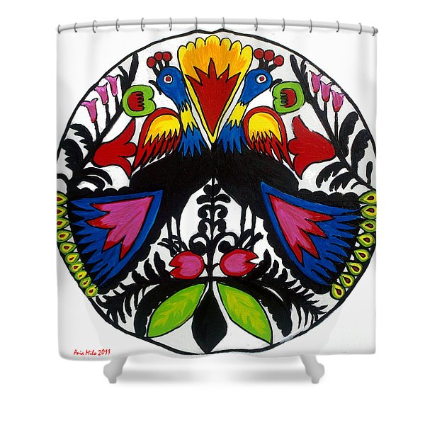 Peacock Tree Polish Folk Art Shower Curtain