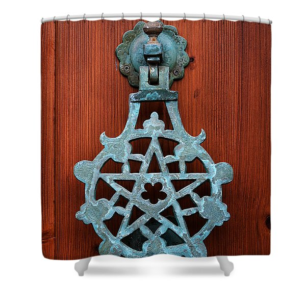 Pentagram Knocker Shower Curtain