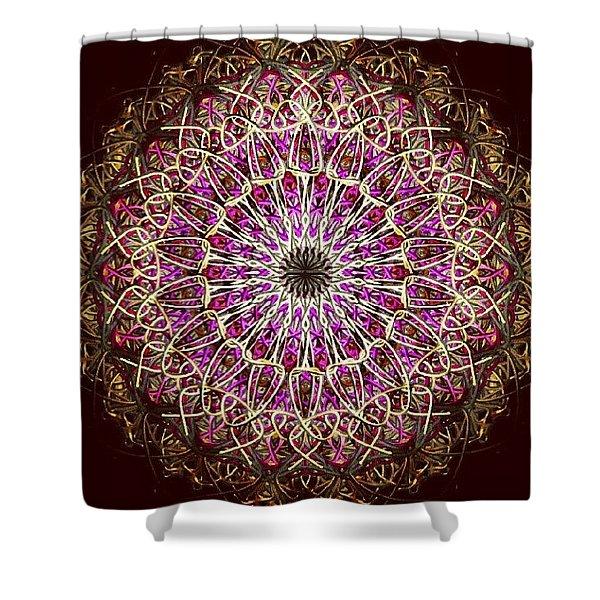 Pink Sun Mandala Shower Curtain