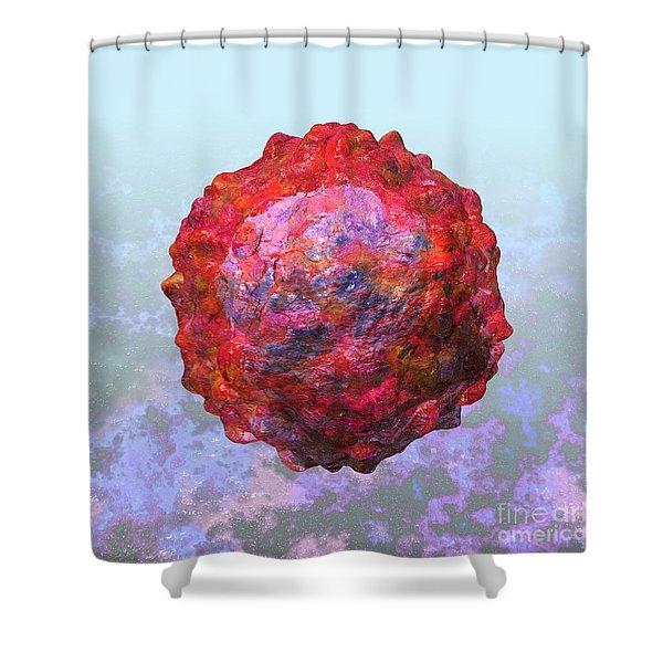 Polio Virus Particle Or Virion Poliovirus 2 Shower Curtain