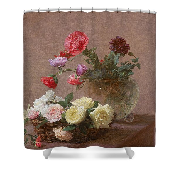 Poppies In A Crystal Vase - Or Basket Of Roses Shower Curtain