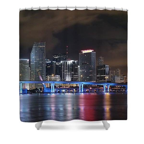 Port Of Miami Downtown Shower Curtain