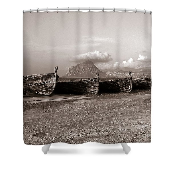 Shower Curtain featuring the photograph Old Port Of Trapani by Silva Wischeropp
