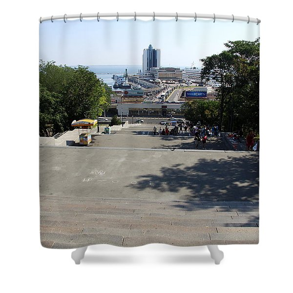 Potemkin Stairs And Passenger Terminal - Odessa Shower Curtain