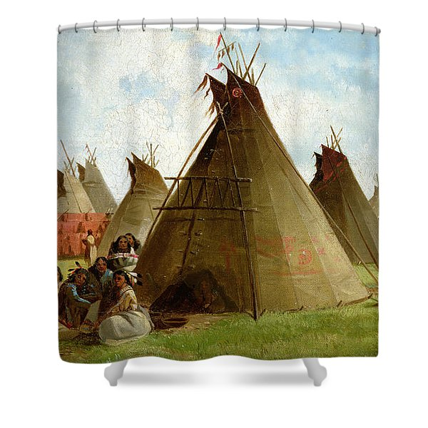 Prairie Indian Encampment Shower Curtain