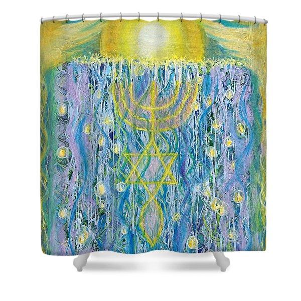 Prophetic Message Sketch Painting 26 Elohim Elohim Latter Rain Shower Curtain