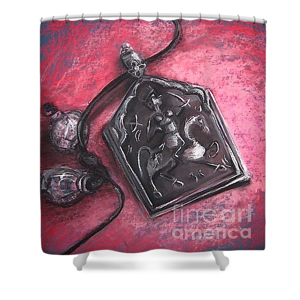 Shower Curtain featuring the drawing Protection by Gabrielle Wilson-Sealy