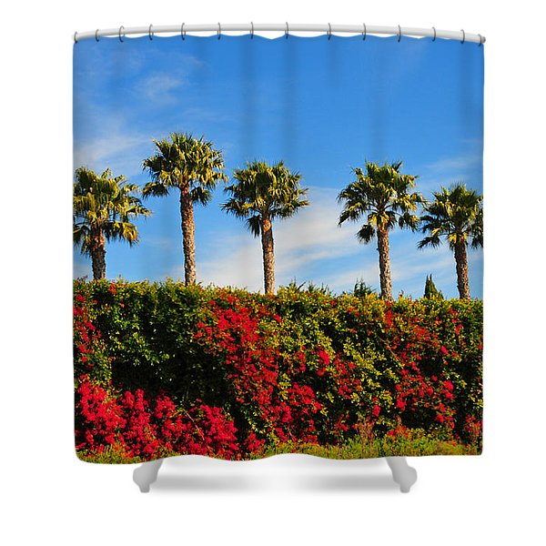 Pt. Dume Palms Shower Curtain