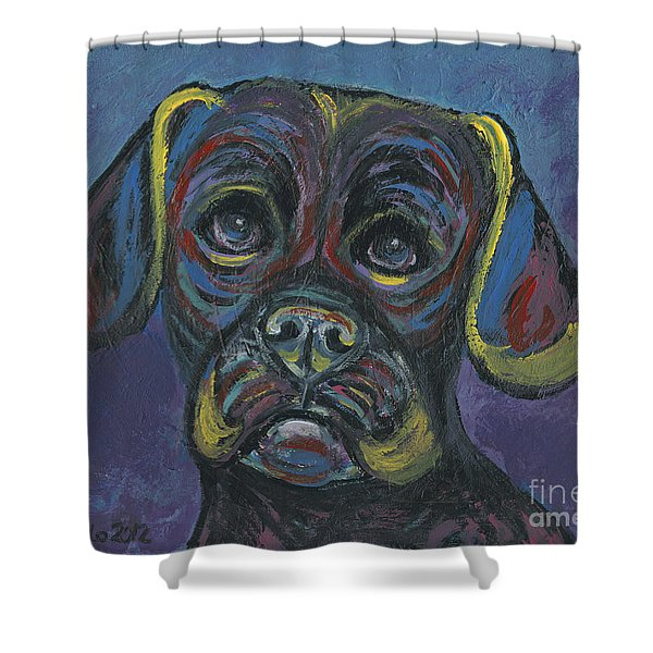 Puggle In Abstract Shower Curtain