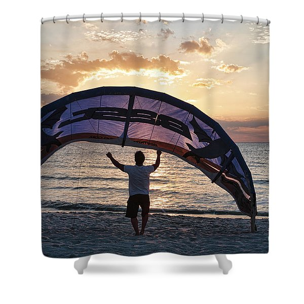 Putting Away The Kite At Clam Pass At Naples Florida Shower Curtain