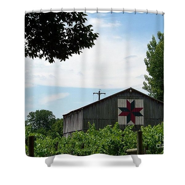 Shower Curtain featuring the photograph Quilted Barn And Vineyard by Charles Robinson