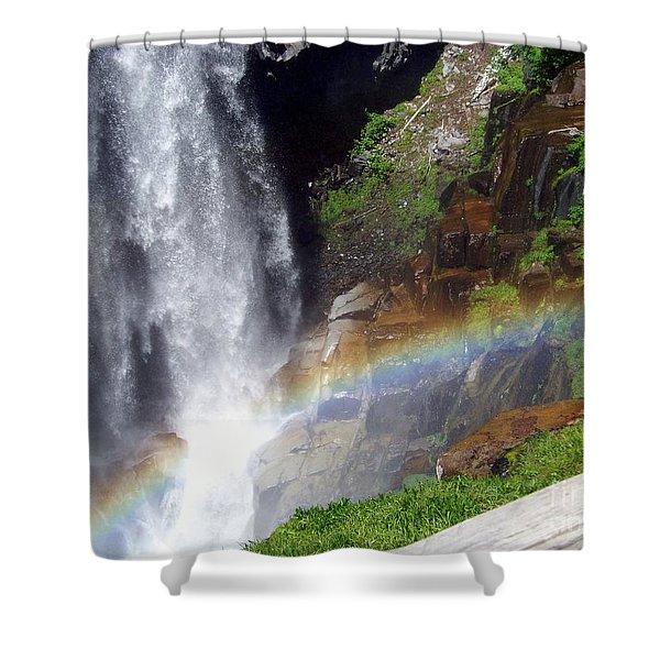 Shower Curtain featuring the photograph Rainbow At Narada Falls by Charles Robinson