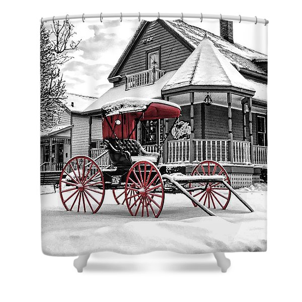 Red Buggy At Olmsted Falls - 2 Shower Curtain