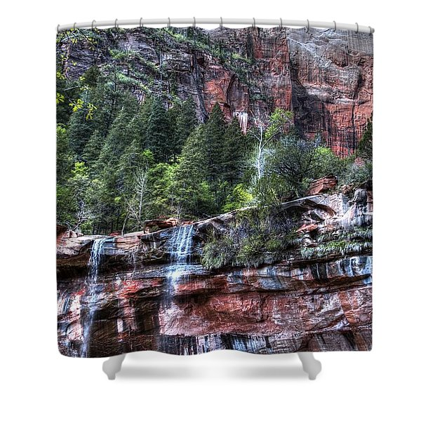 Red Falls Shower Curtain