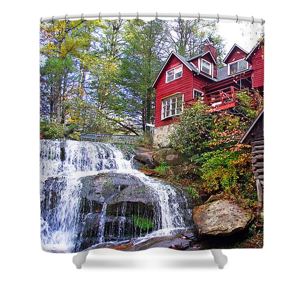 Red House By The Waterfall 2 Shower Curtain
