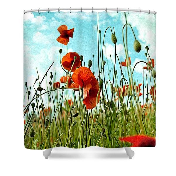Red Poppy Flowers 03 Shower Curtain