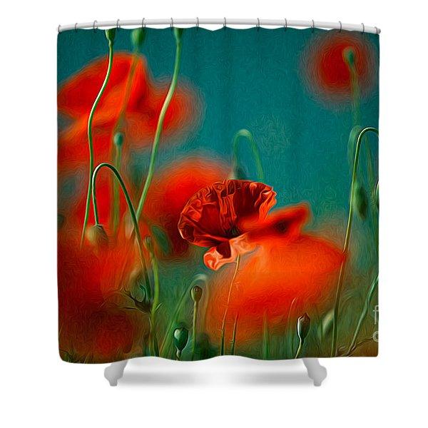 Red Poppy Flowers 05 Shower Curtain