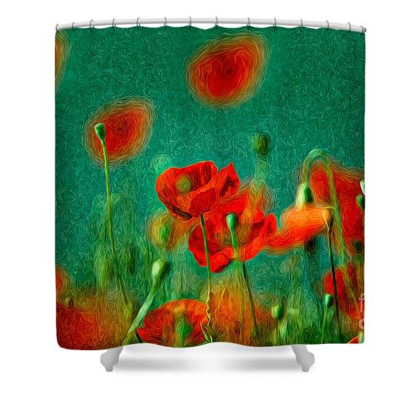 Red Poppy Flowers 07 Shower Curtain