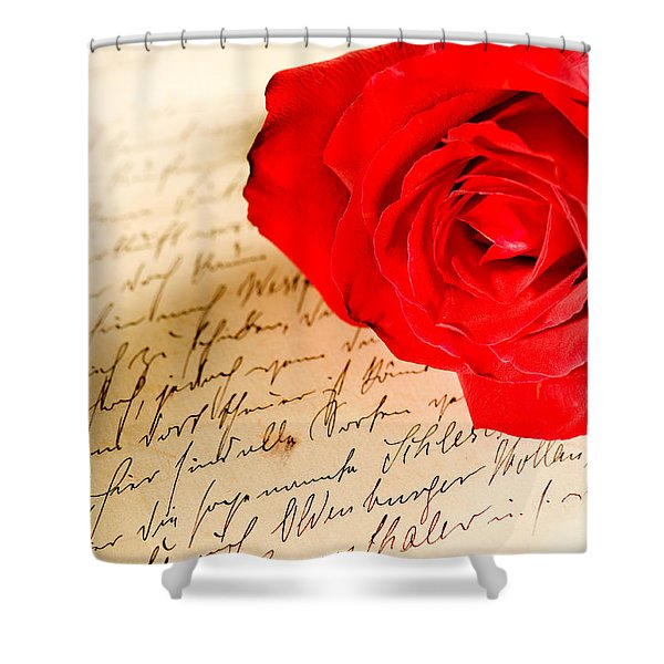 Red Rose Over A Hand Written Letter Shower Curtain