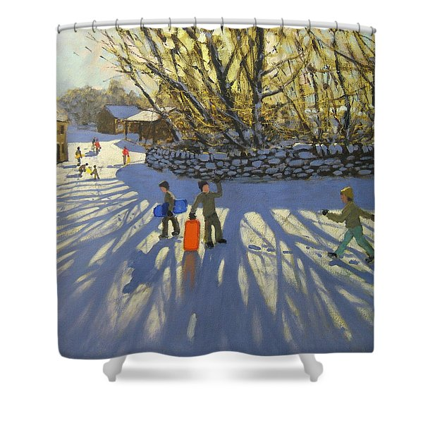 Red Sledge Shower Curtain