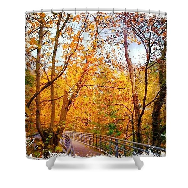 Reed College Canyon Bridge To Campus Shower Curtain