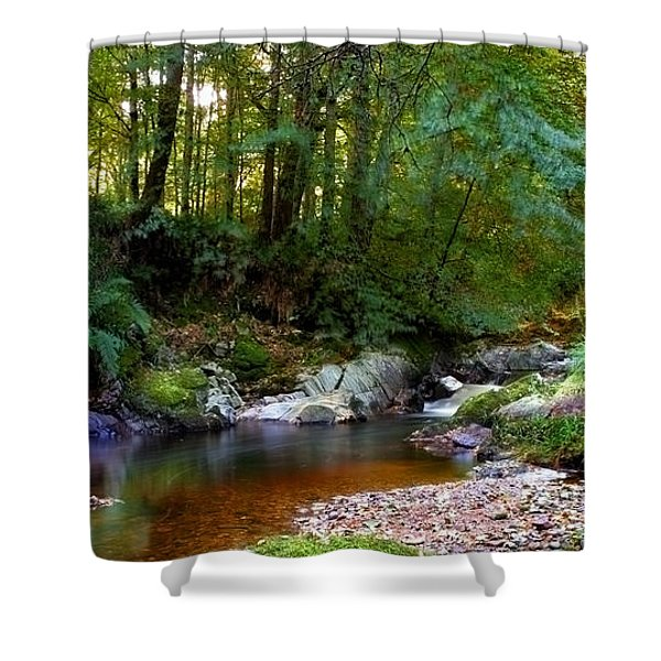River In Cawdor Big Wood Shower Curtain