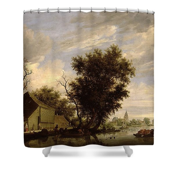 River Scene With A Ferry Boat Shower Curtain