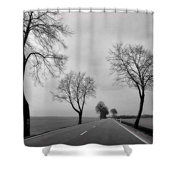 Road Through Windy Fields Shower Curtain