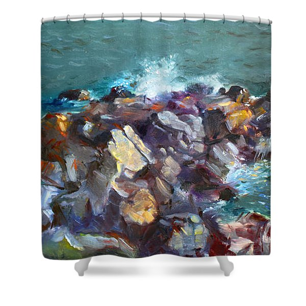 Rocks Against The Ocean  Shower Curtain