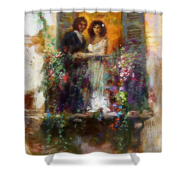 Romance In Venice  Fragment Balcony Shower Curtain