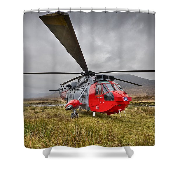 Royal Navy Sar Sea King Xz920 Glencoe Shower Curtain