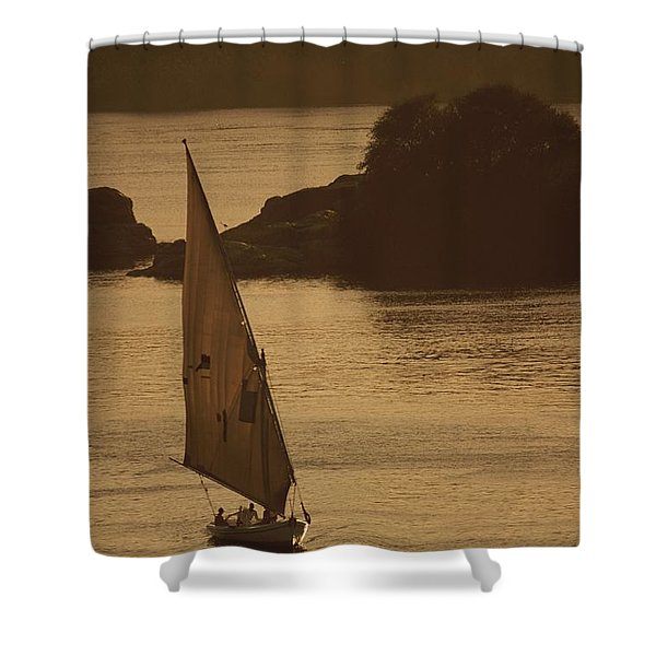 Sailboat On The Nile River At Twilight Shower Curtain