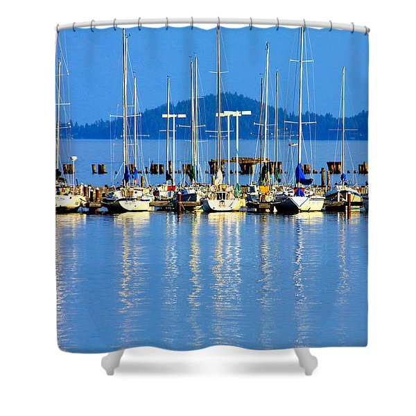 Sailboats Reflections Shower Curtain