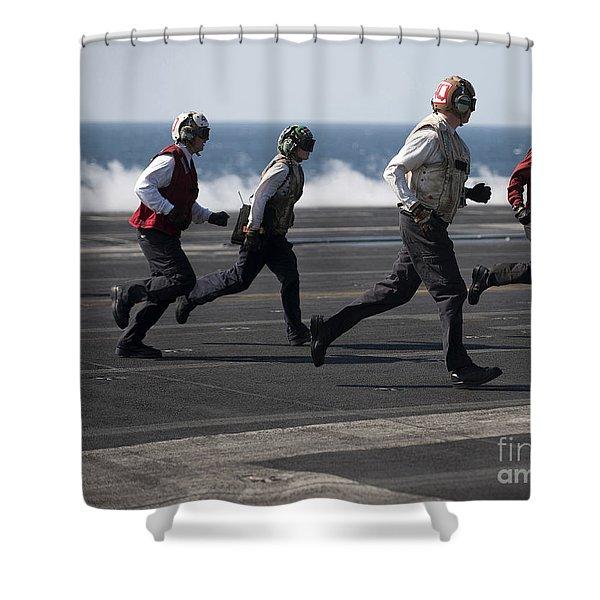 Sailors Clear The Landing Area Shower Curtain