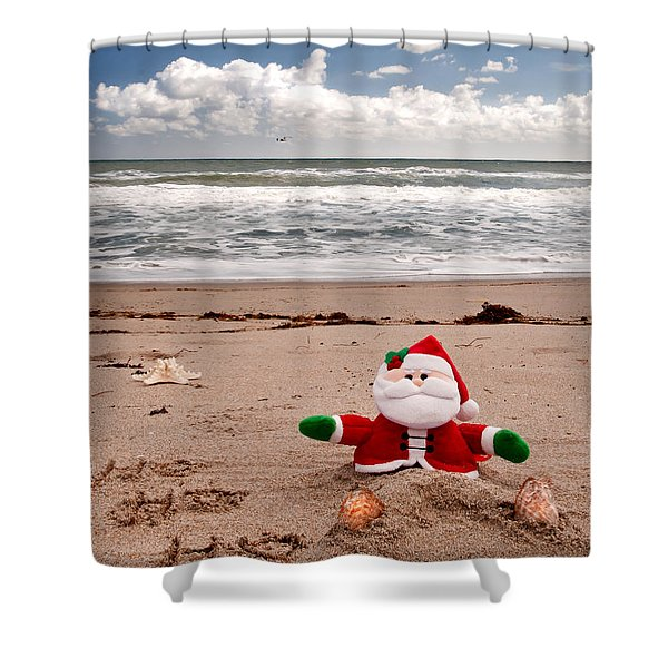 Santa At The Beach Shower Curtain