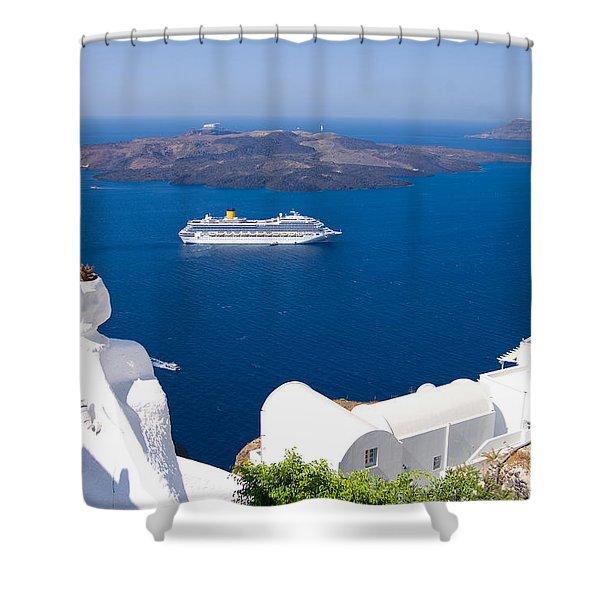 Santorini Cruising Shower Curtain