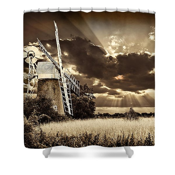 Sepia Sky Windmill Shower Curtain