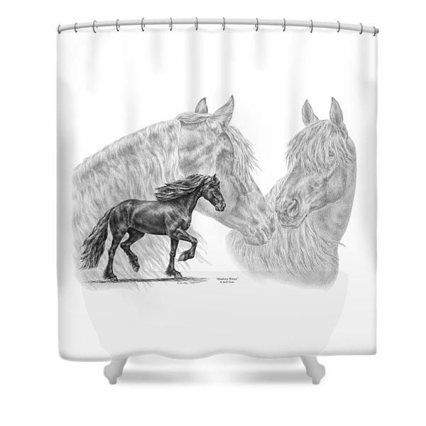 Shadowy Waves - Friesian Horses Art Print Shower Curtain