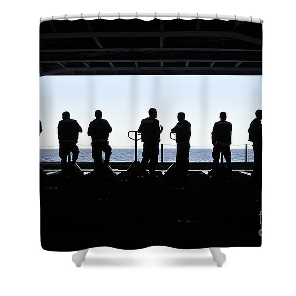 Silhouette Of Sailors Standing Shower Curtain