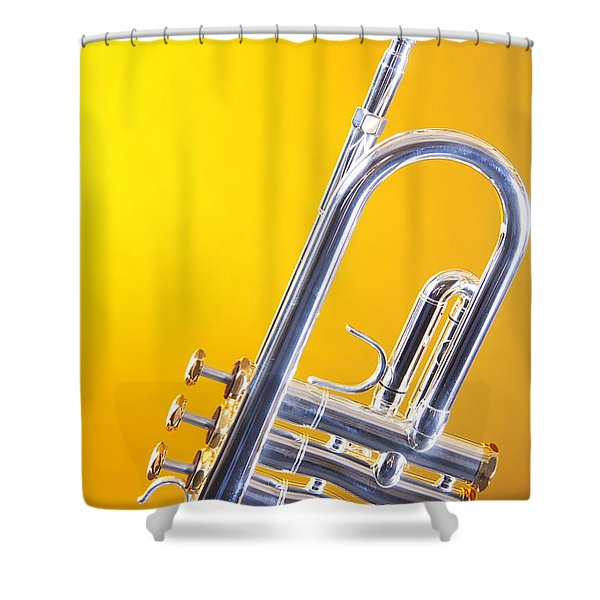 Silver Trumpet Isolated On Yellow Shower Curtain