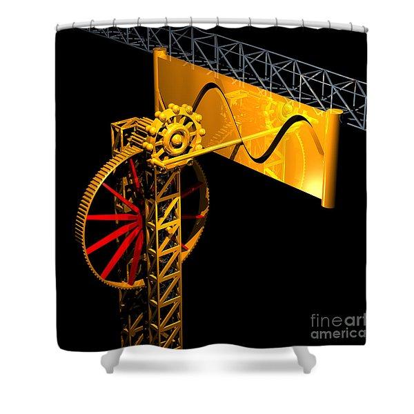 Sine Wave Machine Shower Curtain