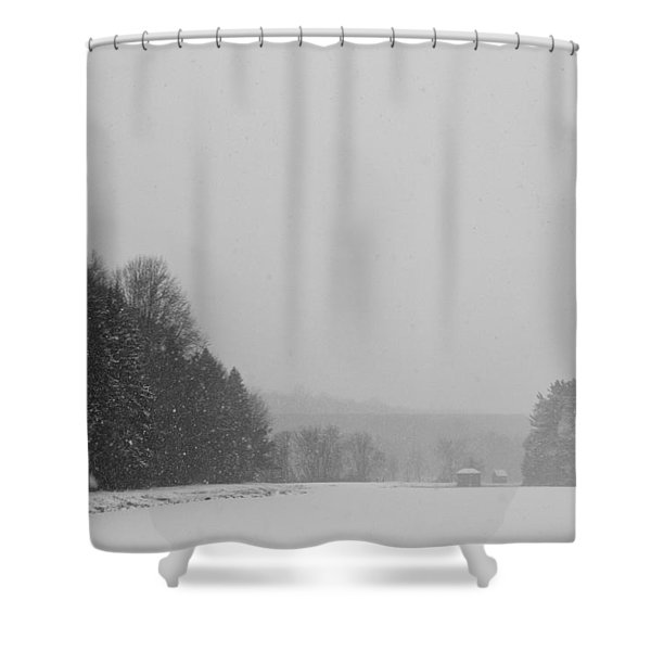 Snowy New England Countryside Shower Curtain